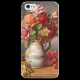 """Чехол для iPhone 5 глянцевый, с полной запечаткой """"Розы и вишни"""" - картина, зацка"""