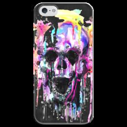 """Чехол для iPhone 5 глянцевый, с полной запечаткой """"Череп (краски)"""" - skull, череп, краски, подарок, рот"""