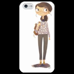 """Чехол для iPhone 5 глянцевый, с полной запечаткой """"Four-Eyes"""" - девушка, арт, рисунок, иллюстрация"""