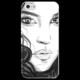 """Чехол для iPhone 5 глянцевый, с полной запечаткой """"Monika"""" - любовь, арт, красиво, девушка, белое, стиль, глаза, женская, лицо, губы"""
