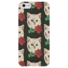 "Чехол для iPhone 5 глянцевый, с полной запечаткой ""KotEkI"" - арт, розы, cats, котята, roses, kittens"