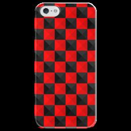 """Чехол для iPhone 5 глянцевый, с полной запечаткой """"Красная и Чёрная клетка"""" - дизайн, клетка, красное и чёрное"""