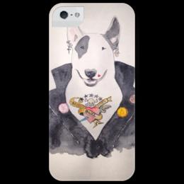 """Чехол для iPhone 5 глянцевый, с полной запечаткой """" Sweet Animals. Bull terrier"""" - арт, dog, рисунок, собака, бультерьер"""