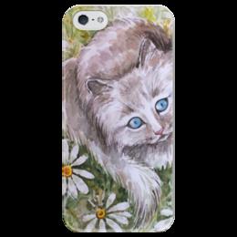 """Чехол для iPhone 5 глянцевый, с полной запечаткой """" Ромашковый кот """" - кот, цветы, рисунок, ромашки, кот в ромашках"""
