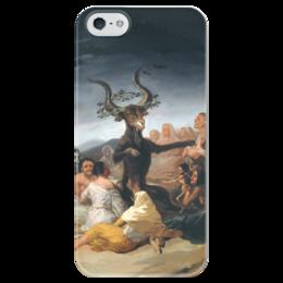 "Чехол для iPhone 5 глянцевый, с полной запечаткой ""Шабаш ведьм (Witches Sabbath)"" - картина, гойя"