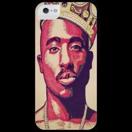 "Чехол для iPhone 5 глянцевый, с полной запечаткой ""2 pac"" - rap, hip hop, 2pac, тупак шакур, rapper, tupac shakur, tupac"