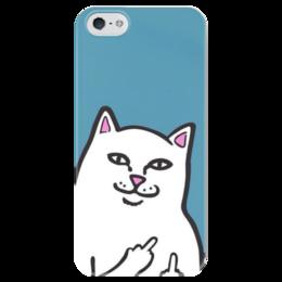 """Чехол для iPhone 5 глянцевый, с полной запечаткой """"Кот фак"""" - кот, животные, фак"""