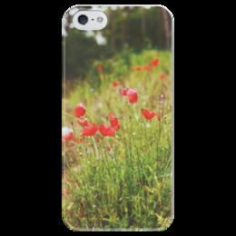 """Чехол для iPhone 5 глянцевый, с полной запечаткой """"маки весной"""" - цветы, весна, в подарок, лес, растения, красное, маки, poppy, болгария, зеленое"""