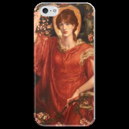 """Чехол для iPhone 5 глянцевый, с полной запечаткой """"Видение Фьямметты"""" - картина, россетти"""