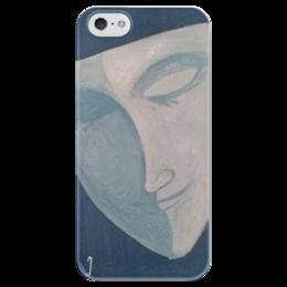 """Чехол для iPhone 5 глянцевый, с полной запечаткой """"Луна в маске"""" - mask, face, маска, луна, moon, inzigen"""