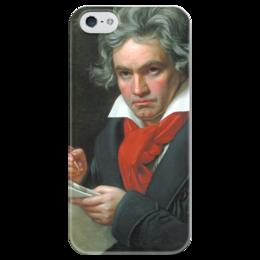 """Чехол для iPhone 5 глянцевый, с полной запечаткой """"Портрет Бетховена"""" - картина, штилер"""