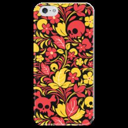 """Чехол для iPhone 5 глянцевый, с полной запечаткой """"Хохлома с черепами"""" - skull, череп, хохлома"""