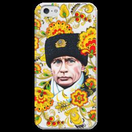 """Чехол для iPhone 5 глянцевый, с полной запечаткой """"Путин – Хохлома"""" - любовь, москва, владимир, россия, патриотизм, политика, рождество, путин, президент, хохлома"""