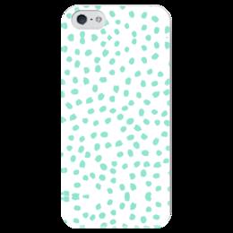 """Чехол для iPhone 5 глянцевый, с полной запечаткой """"Мятный Лео"""" - салатовый, белый"""