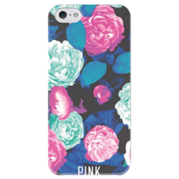 """Чехол для iPhone 5 глянцевый, с полной запечаткой """"Пионы Pink"""" - pink, пионы"""