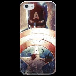 """Чехол для iPhone 5 глянцевый, с полной запечаткой """"Капитан Америка"""" - комиксы, cap, кэп, капитан америка, captain america"""