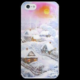 """Чехол для iPhone 5 глянцевый, с полной запечаткой """"Зимушка-зима"""" - зима, снег, пейзаж, живопись"""