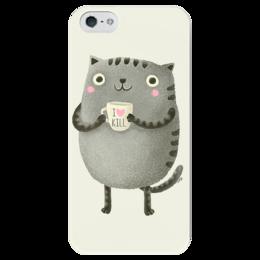 "Чехол для iPhone 5 глянцевый, с полной запечаткой ""I love kill"" - кот, kill, kitty, cute, мило, я люблю убивать, i love kill"