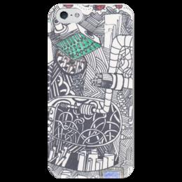 """Чехол для iPhone 5 глянцевый, с полной запечаткой """"зависимость"""" - арт, dependence"""