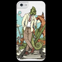 "Чехол для iPhone 5 глянцевый, с полной запечаткой ""Chameleon"" - хамелеон, suit, tie, well dressed animal, костюм"