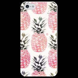 "Чехол для iPhone 5 глянцевый, с полной запечаткой ""Ананас"" - лето, summer, ананас, pineapple"