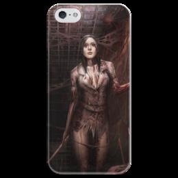 """Чехол для iPhone 5 глянцевый, с полной запечаткой """"Хоррор"""" - арт, девушка, стиль, ужастик, хоррор"""