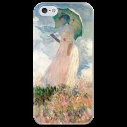 """Чехол для iPhone 5 глянцевый, с полной запечаткой """"Монэ. Девушка"""" - девушка, цветы, iphone, классика, картина, красота, искусство, зонт, нежность, monet"""