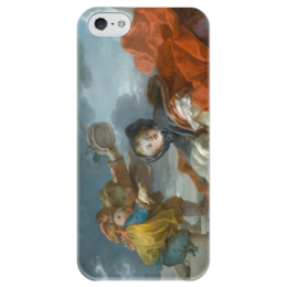 "Чехол для iPhone 5 глянцевый, с полной запечаткой ""Зима (Картина Фрагонара)"" - картина, фрагонар"