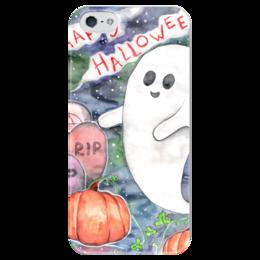 """Чехол для iPhone 5 глянцевый, с полной запечаткой """"Happy Halloween"""" - праздник, тыква, день всех святых, хеллоувин, приведенье"""