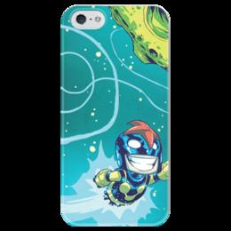 """Чехол для iPhone 5 глянцевый, с полной запечаткой """"Comics Art Series: Marvel"""" - рисунок, космос, супергерои, марвел, superhero"""