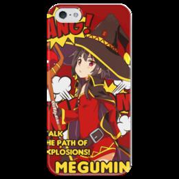 """Чехол для iPhone 5 глянцевый, с полной запечаткой """"Мегумин"""" - аниме, манга, konosuba, коносуба, коносуба мегумин"""