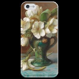 """Чехол для iPhone 5 глянцевый, с полной запечаткой """"Пионы в вазе"""" - картина, зацка"""