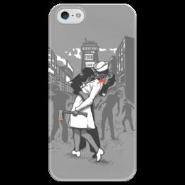 "Чехол для iPhone 5 глянцевый, с полной запечаткой ""Поцелуй на вылет"" - зомби, kiss, zombie"