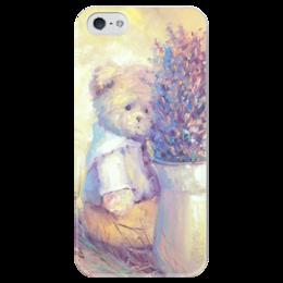 """Чехол для iPhone 5 глянцевый, с полной запечаткой """"Лавандовый день"""" - винтаж, франция, мишки тедди, лаванда, чехол на телефон"""