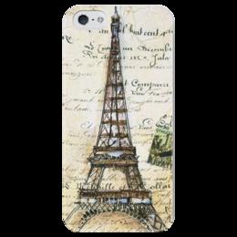 """Чехол для iPhone 5 глянцевый, с полной запечаткой """"Париж"""" - город, city, париж, paris, эйфелева башня, eiffel tower"""