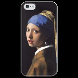 """Чехол для iPhone 5 глянцевый, с полной запечаткой """"Девушка с жемчужной серёжкой (Ян Вермеер)"""" - картина, портрет, вермеер"""