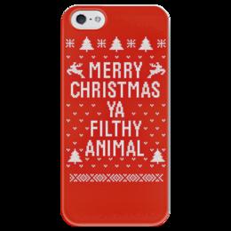"""Чехол для iPhone 5 глянцевый, с полной запечаткой """"""""Один дома"""" """" - merry christmas, с рождеством, один дома, home alone"""