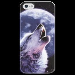 """Чехол для iPhone 5 глянцевый, с полной запечаткой """"Night wolf"""" - волк, wolf, moon, вой, howl"""