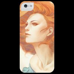 """Чехол для iPhone 5 глянцевый, с полной запечаткой """"Девушка"""" - девушка, girl, рыжая, red hair, redhead"""