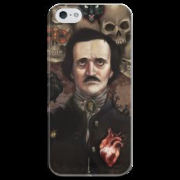 """Чехол для iPhone 5 глянцевый, с полной запечаткой """"Эдгар По"""" - череп, готика, ужасы, литература, эдгар по"""