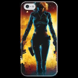 """Чехол для iPhone 5 глянцевый, с полной запечаткой """"Черная Вдова (Мстители)"""" - black widow, the avengers, черная вдова, мстители"""