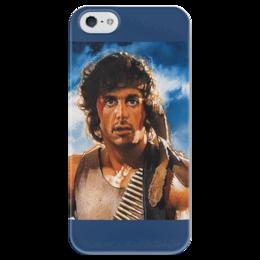 """Чехол для iPhone 5 глянцевый, с полной запечаткой """"Рэмбо"""" - кино, боевик, рэмбо, сильвестр сталлоне"""