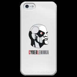 """Чехол для iPhone 5 глянцевый, с полной запечаткой """"КиберЛенинка"""" - ленин, наука, киберленинка, киберленин"""