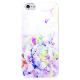 """Чехол для iPhone 5 глянцевый, с полной запечаткой """"Распускающаяся роза"""" - роза, розовый, нежность, розы, цаеток"""