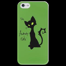 """Чехол для iPhone 5 глянцевый, с полной запечаткой """"Кот-анархист"""" - кот, юмор, рисунок, графика, анархист"""