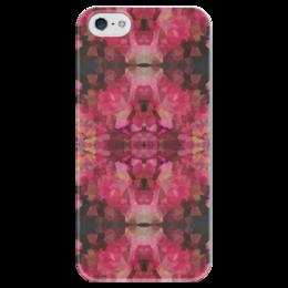 """Чехол для iPhone 5 глянцевый, с полной запечаткой """"Рубиновое сердце"""" - бордовый, черный, розовый"""