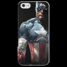 """Чехол для iPhone 5 глянцевый, с полной запечаткой """"Капитан Америка"""" - комиксы, кэп, марвел, капитан америка, captain america"""