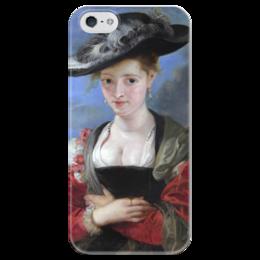 """Чехол для iPhone 5 глянцевый, с полной запечаткой """"Свояченица Сусанна («Соломенная шляпка»)"""" - картина, рубенс"""