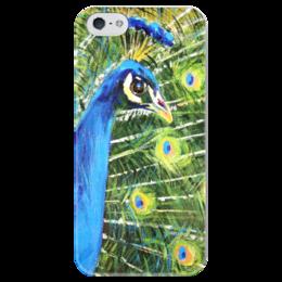 """Чехол для iPhone 5 глянцевый, с полной запечаткой """"павлин! Funny Smile"""" - женская, птица, рисунок, оригинально, девушке, bird, peacock, peafowl"""