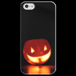 """Чехол для iPhone 5 глянцевый, с полной запечаткой """"halloween"""" - хэллоуин, smile, halloween, светильник джека"""